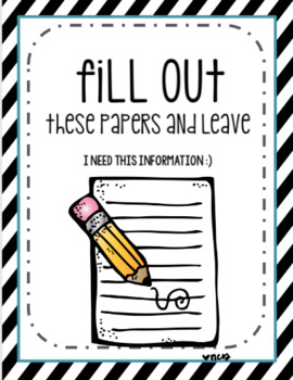 Meet The Teacher Packet to Organize Papers