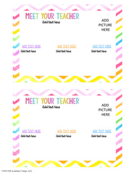 Meet The Teacher Postcard Letter EDITABLE