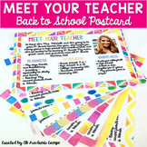 Meet The Teacher Postcard Letter EDITABLE