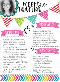 Meet The Teacher Printable