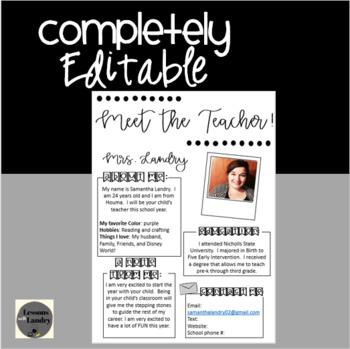 Meet The Teacher Printer Friendly