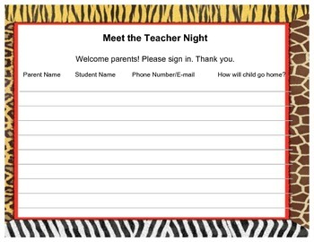 Meet The Teacher Sign in Sheet- Jungle Print