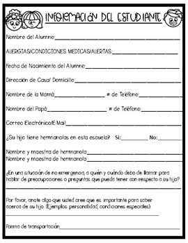 Meet The Teacher Spanish Forms