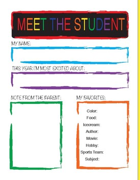 Meet The Teacher/Student Template