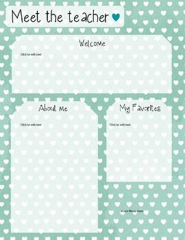 meet the teacher template editable letter teaching resources