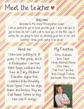Candy Stripe Meet The Teacher Template **Editable**