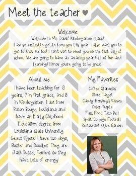 Yellow and Grey Chevron Meet The Teacher Template **Editable**