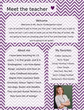 Purple and White Chevron Meet The Teacher Template **Editable**