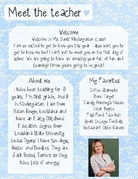 Blue Seed Meet The Teacher Template **Editable**