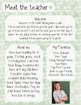 Mint Rose Meet The Teacher Template **Editable**