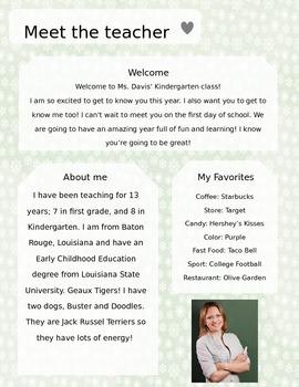 Snowflake Meet The Teacher Template **Editable**