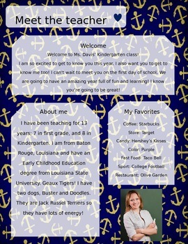 Anchors Meet The Teacher Template **Editable**