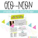 Meet The Teacher | Welcome Letter | GEO NEON | Editable