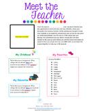 Meet The Teacher **editable**