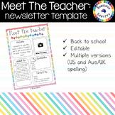 Meet The Teacher - editable newsletter template