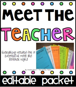 Meet The Teacher forms & materials EDITABLE {Back To School Forms}