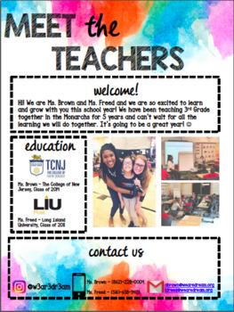 Meet The Teachers Editable Letter -- Great for Co-Teachers!