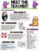 Meet The Teacher Newsletter- EDITABLE- Monster