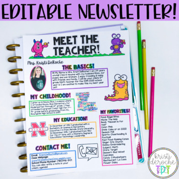 meet the teacher newsletter editable monster by kristi deroche