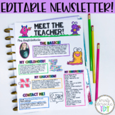 Meet The Teacher Newsletter- EDITABLE- Monster