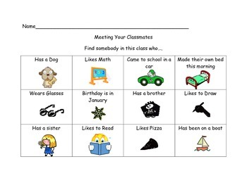 Meet Your Classmates Bingo