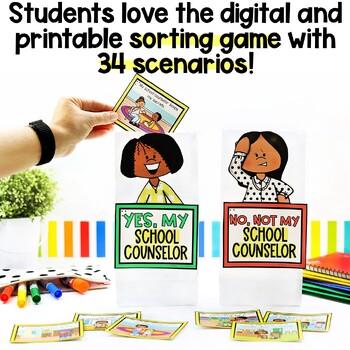 MEET YOUR SCHOOL COUNSELOR Bag Sorting Game, Posters, & Bilingual Flipbook!