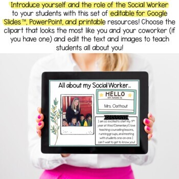 Meet Your SOCIAL WORKER PowerPoint Presentation & Bilingual Mini Coloring Book!