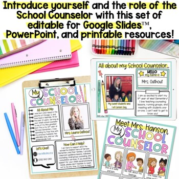 MEET YOUR SCHOOL COUNSELOR PowerPoint & Bilingual Coloring Book!