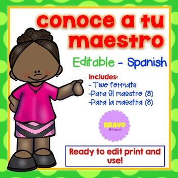Meet Your Teacher - Conoce a tu maestro EDITABLE