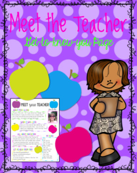 Meet Your Teacher Editable Handout