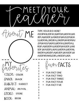 Meet Your Teacher Editable Introduction Letter