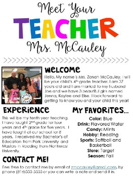 Meet the teacher editable template by zanah mccauley tpt for Free meet the teacher template