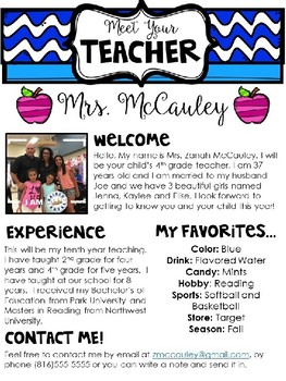 meet the teacher editable template