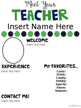 meet the teacher editable template by zanah mccauley tpt