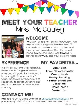 Meet the teacher editable template by zanah mccauley tpt for Meet the teacher brochure template