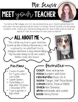 Meet Your Teacher Letter - Editable!