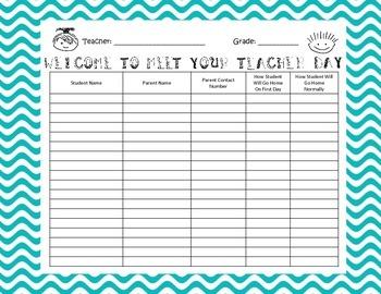 Meet Your Teacher Orientation Sign In Sheet