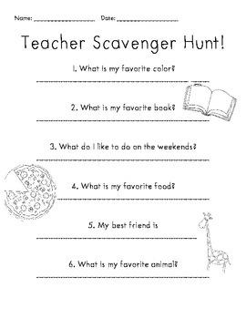 Meet Your Teacher Scavenger Hunt
