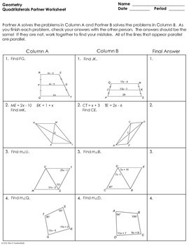 Quadrilaterals Partner Worksheet