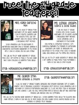 Meet the 2nd grade Teachers Newsletter- EDITABLE - Basic Printer Friendly