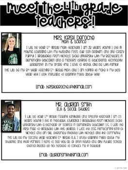 Meet the 4th grade Teachers Newsletter- EDITABLE - Basic Printer Friendly