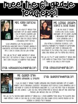 Meet the 6th grade Teachers Newsletter- EDITABLE - Basic Printer Friendly