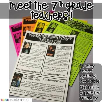 Meet the 7th grade Teachers Newsletter- EDITABLE - Basic Printer Friendly