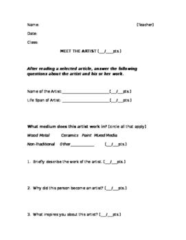 Meet the Artist  (worksheet 1)