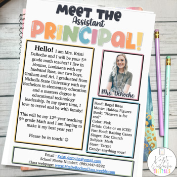 Meet the Assistant Principal Newsletter- EDITABLE - Bright Stripes