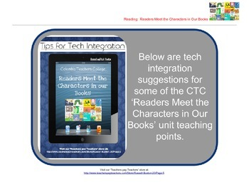 Meet the Characters in Our Books: Reader's Workshop iPad T