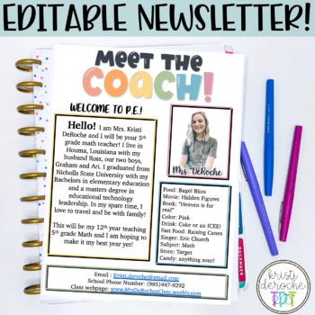 Meet the Coach- EDITABLE- Bright Stripes