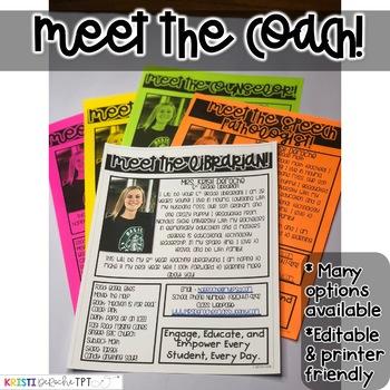 Meet the Coach Newsletter- EDITABLE - Basic Printer Friendly