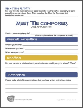 Meet the Composer Job Application Worksheet (Digital Print)