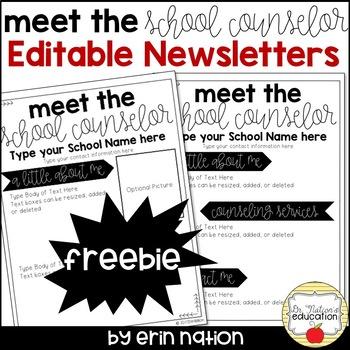 Meet the Counselor Editable Newsletter FREEBIE